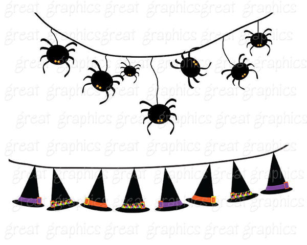 Halloween Bunting Halloween Clipart Digital Halloween Clip Art Witch Hat Candy Corn Jack O Lantern Printable Clipart - Instant Download