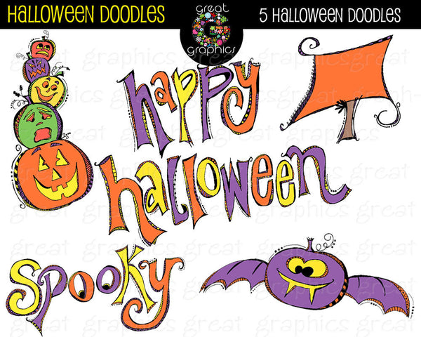 Halloween Clipart Digital Halloween Clip Art Halloween Doodle Whimsical Clipart Halloween Party Digital Clipart - Instant Download
