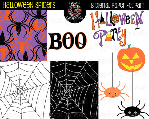 Halloween Spider Web Digital Paper Background Spider Clip Art Halloween Party Clipart Printable Halloween Paper - Instant Download