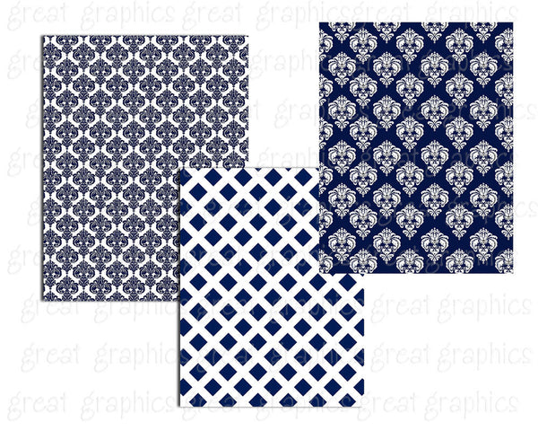 Navy and White Digital Paper Chevron Paper Printable Damask Stripe Navy White Pattern Background Paper - Instant Download