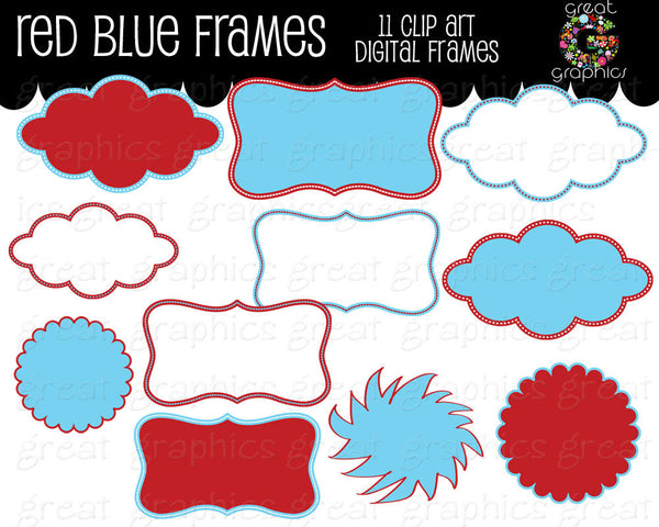 Red and Blue Frame Kids Birthday Party Digital Frame Clipart Printable Red Aqua Frame Clip Art Digital Clipart Printable- Instant Download