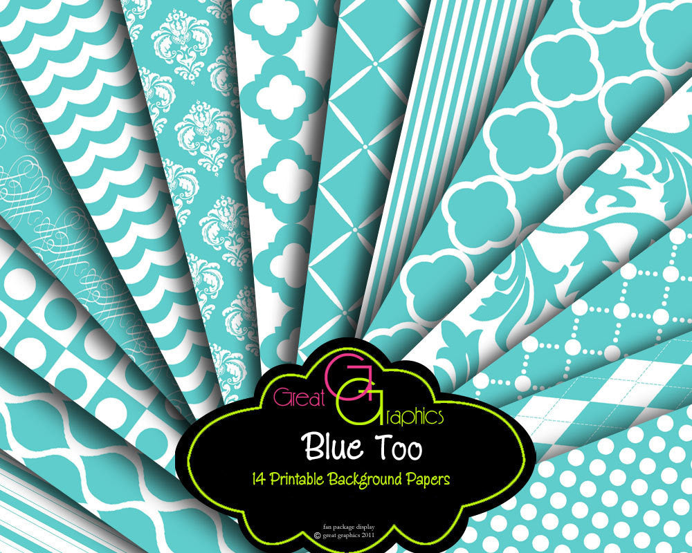 Tiffany Blue Wedding Paper Printable Wedding Digital Paper Blue Printable Paper for Wedding Invitations - Instant Download