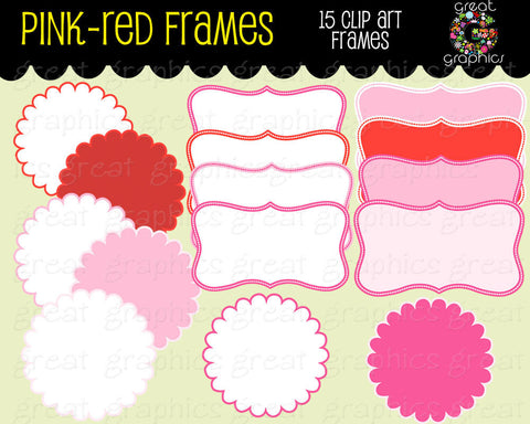 Pink and Red Label Digital Clip Art Frames Printable Clipart Label Frame for Invitations Party Decorations for Girl - Instant Download
