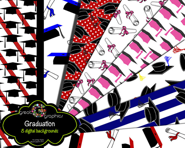 Graduation Paper Graduation Cap Diploma Graduation Digital Paper Printable Party Paper- Instant Download