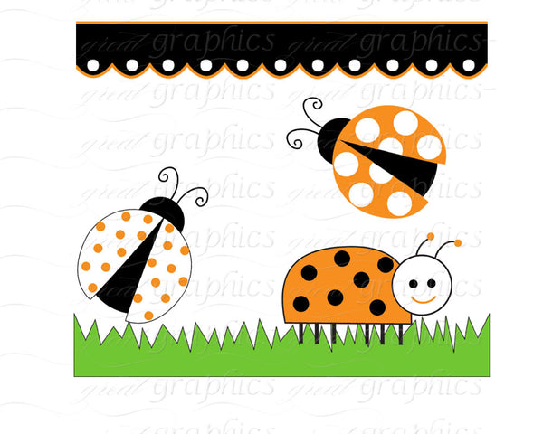 Orange Lady Bug Clip Art Ladybug Digital Clip Art Digital Paper Ladybug Clipart Printable Ladybug Party Paper - Instant Download