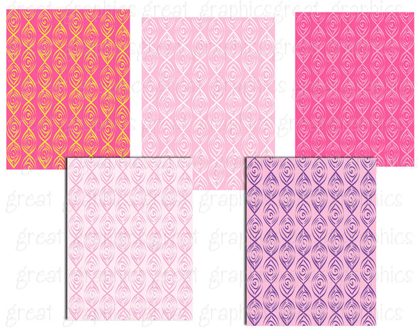 Printable Pink Swirl Pattern Digital Background Paper Invitation Background - Instant Download