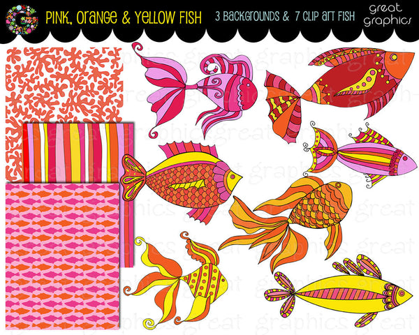 Fish Printable Clip Art Pink and Orange Fish Digital Paper and Clipart - Instant Download