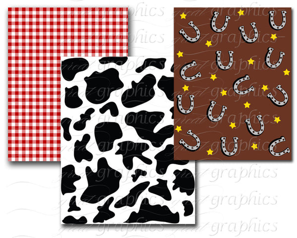 Western Theme Digital Background Paper Cowboy and Cowgirl Backgrounds- Instant Download