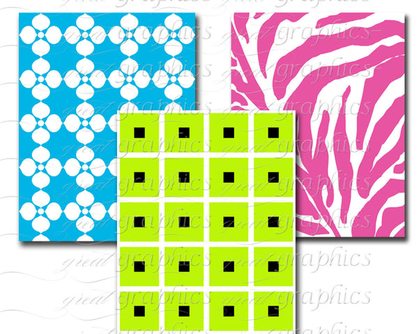 Bright Colorful Digital Background Paper for Invitation Background Chic Patterns - Instant Download