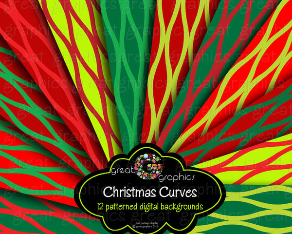 Christmas Digital Paper Curve Pattern Printable Background Christmas Paper Red and Green Pattern Paper - Instant Download