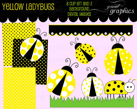 Yellow Lady Bug Clip Art Ladybug Digital Clip Art Digital Paper Ladybug Clipart Printable Ladybug Party Paper - Instant Download