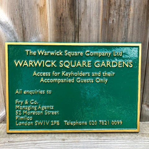 Warwick Square Gardens Sign