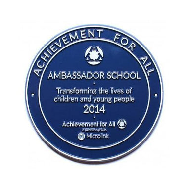 Achievement For All Cast Round Blue Award Plaque-Award Plaques-Signcast