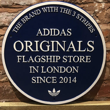 Adidas Flag Ship Store Blue Plaque-Company Point Of Sale Promotional Plaques-Signcast