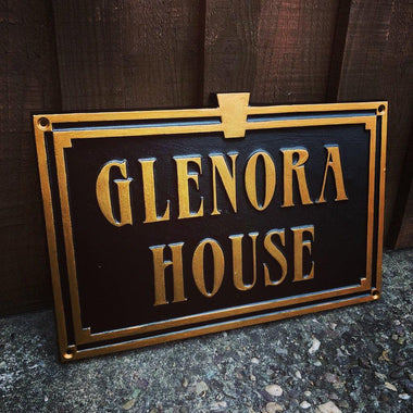 Art Deco Style Cast Aluminium Custom House Sign-Custom made Cast House Signs-Signcast