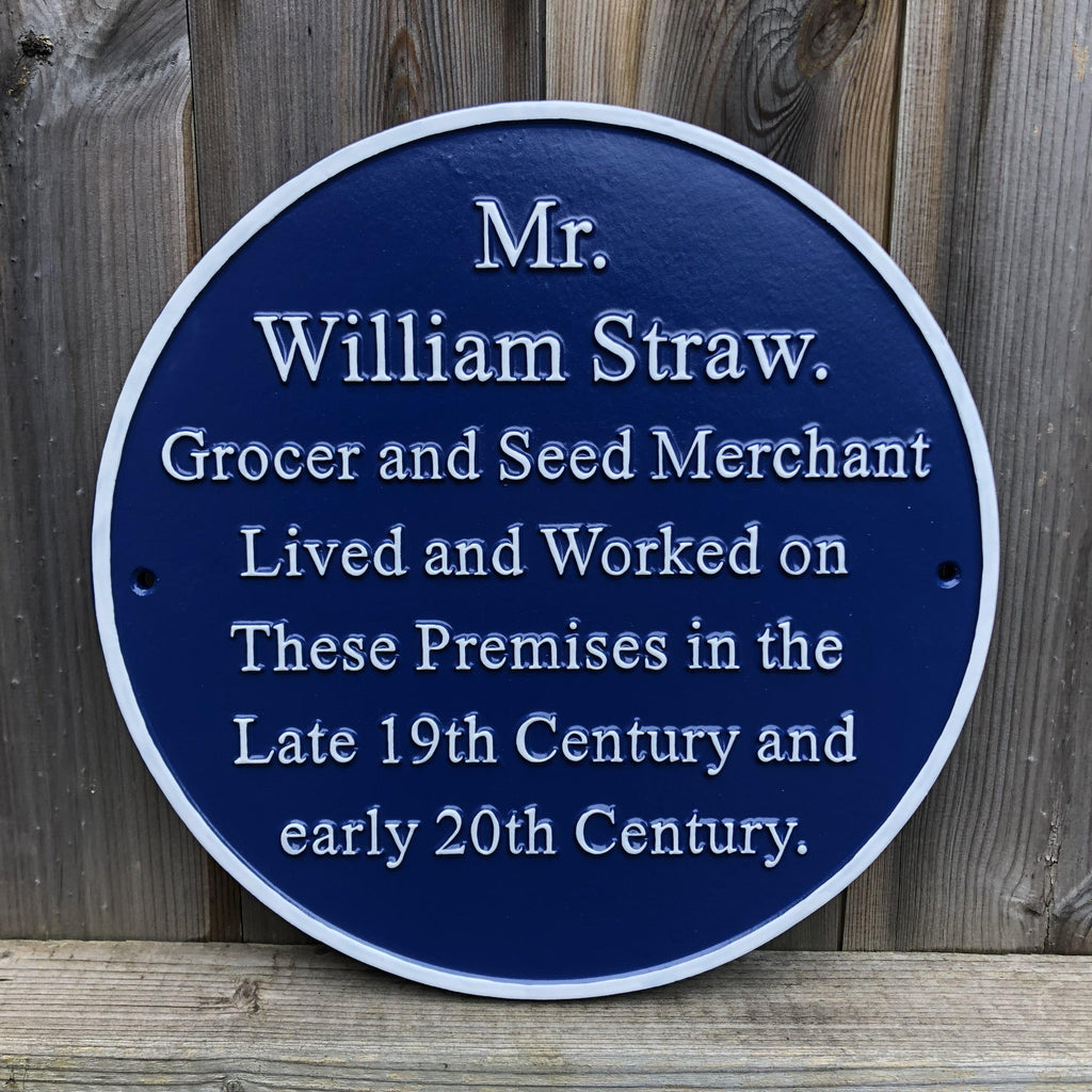 Cast Round Blue Historical Plaque-Blue Plaques-Signcast