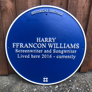Cast Round Historical Heritage Name Blue Plaque-Blue Plaques-Signcast