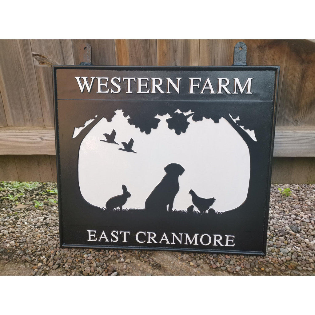 Double Sided Hanging Farm Sign-Custom made Cast House Signs-Signcast