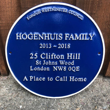 Personalised Cast Round Blue Family Plaque-Blue Plaques-Signcast