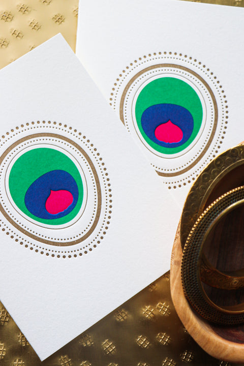 "TRICOLORED SIGNATURE ""EYE ADORE""™ PEACOCK // SINGLE CARD"
