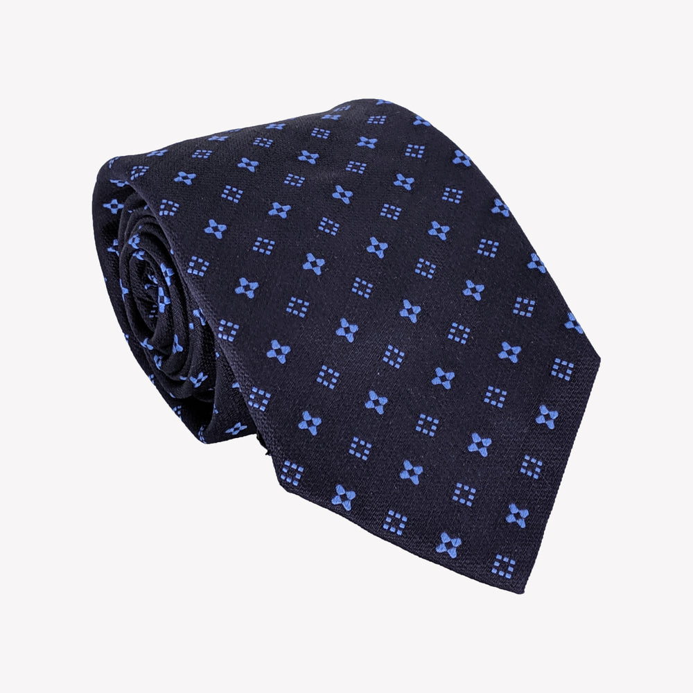 Blue Square and Flower Tie