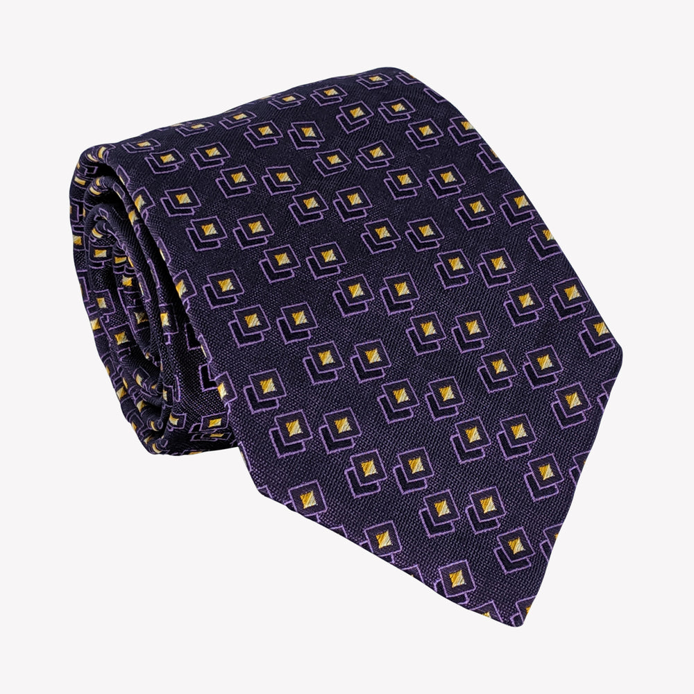 Navy with Yellow Block Tie