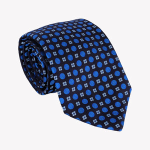 Black with Circles and Electric Blue Tie