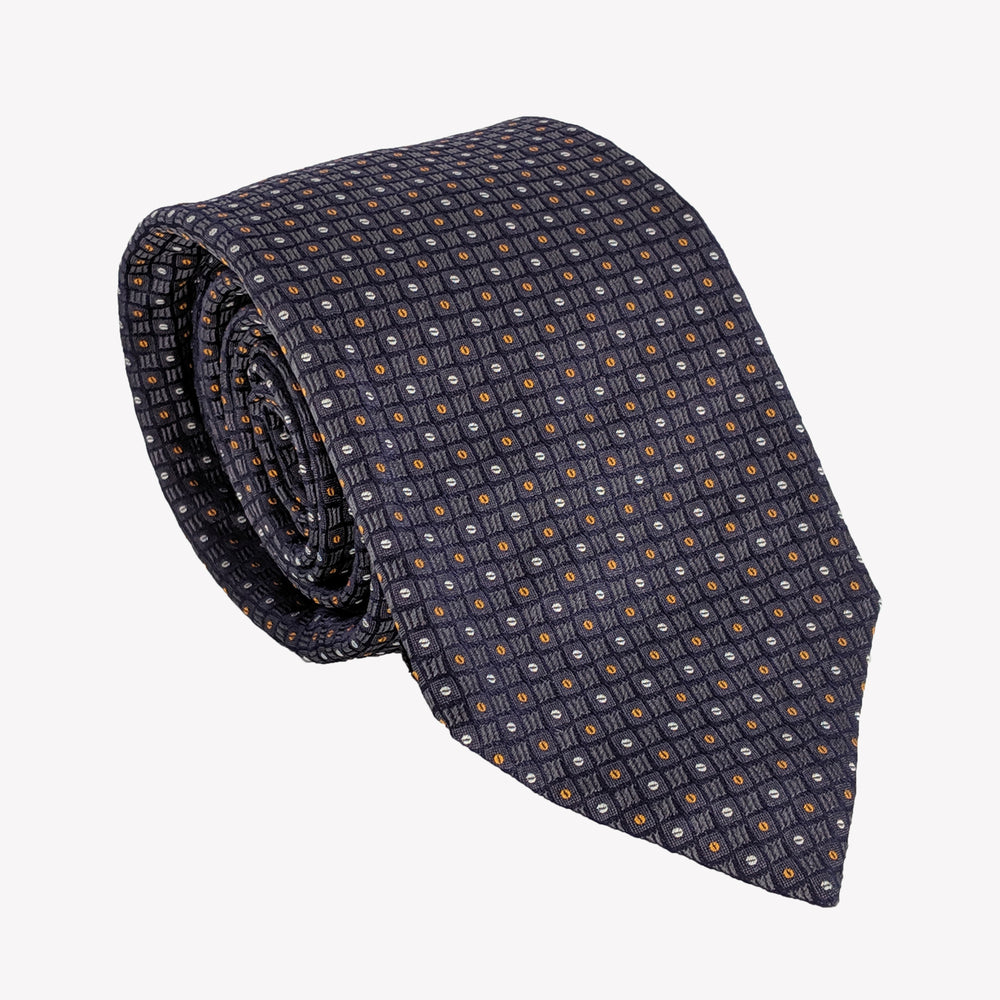 Classic Patterned Navy with Yellow Tie