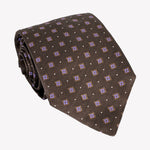 Dotted Brown Tie with Lilac Detail