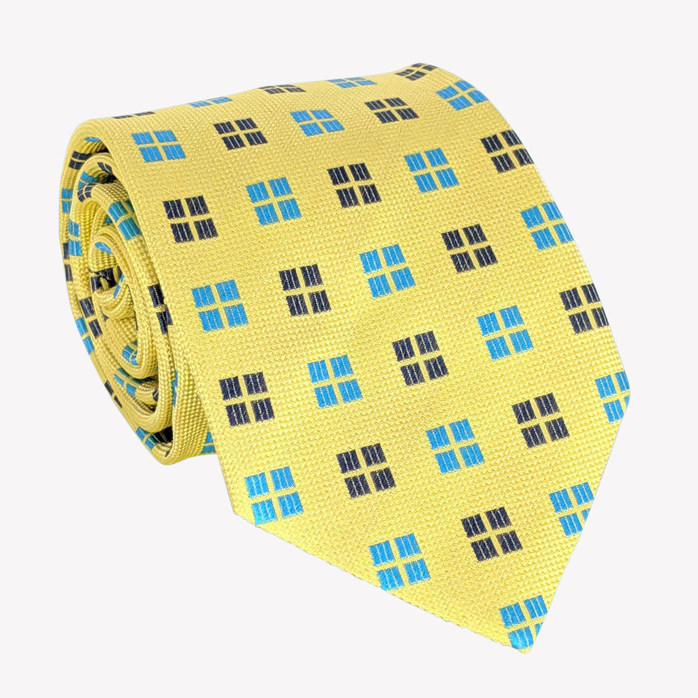 Bright Yellow with Turquoise and Black Windows Tie