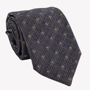 Textured Navy Blue With Dots Tie
