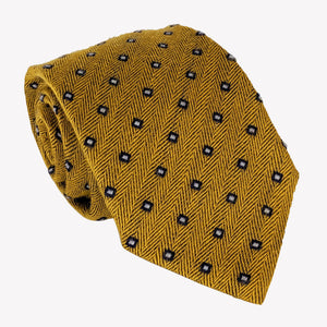 Gold With Navy Blue Dots Tie