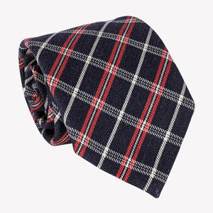 Plaid Navy Blue, Red, and White Tie