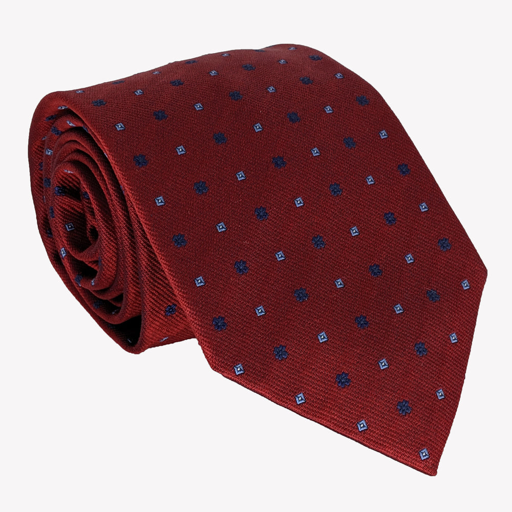 Burgundy with Blue Dots Tie