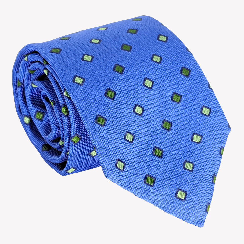 Bright Blue with Green Diamonds Tie