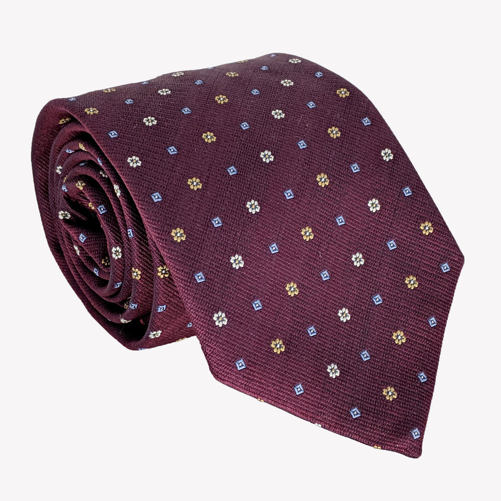Burgundy Tie Dotted with Gold Squares