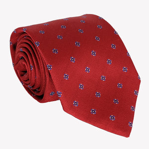Red with Blue Flower Dots Tie