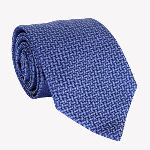 Navy Blue Tie with Lattice Detail