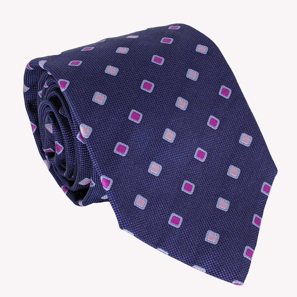 Navy Blue with Pink Diamond Details Tie