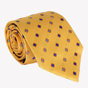 Mustard Yellow with Blue Diamond Details Tie