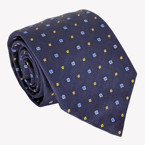 Navy Blue with Gold and Light Blue Dots Tie