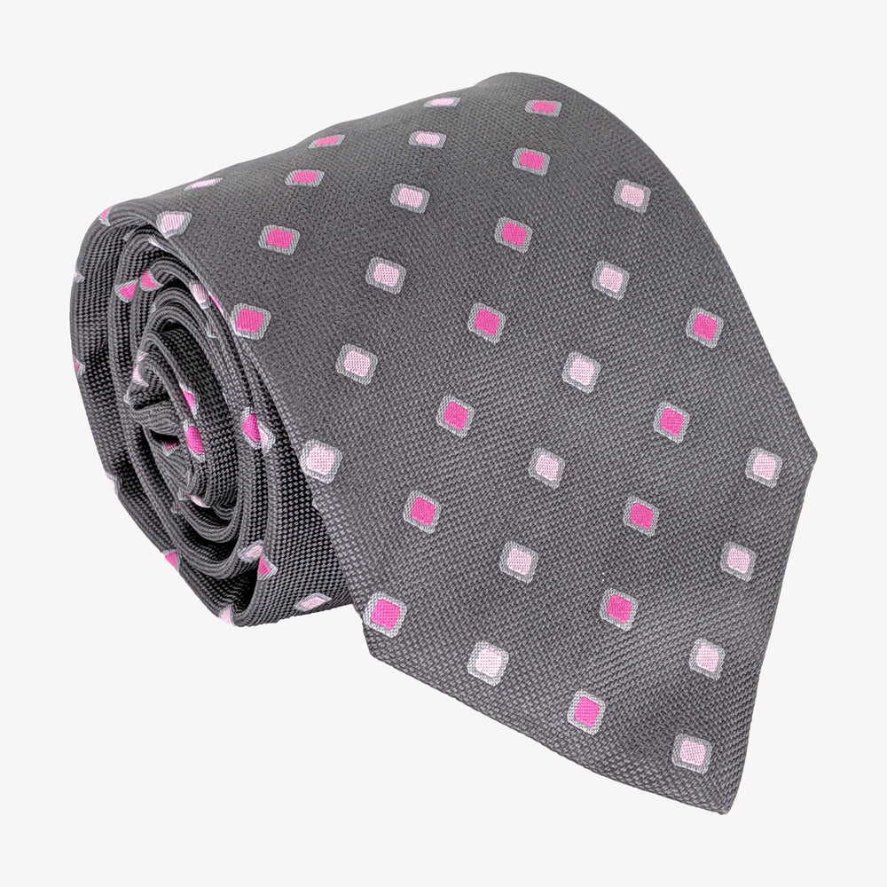 Classic Gray with Pink and White Details Tie
