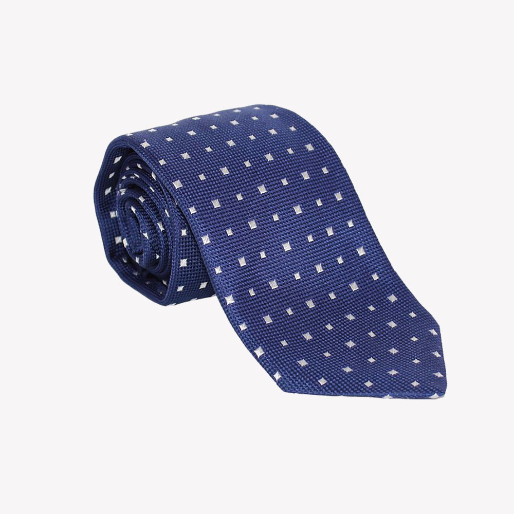 Navy with White Solid Squares Tie