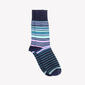 Aqua Varied Mini Stripe Sock
