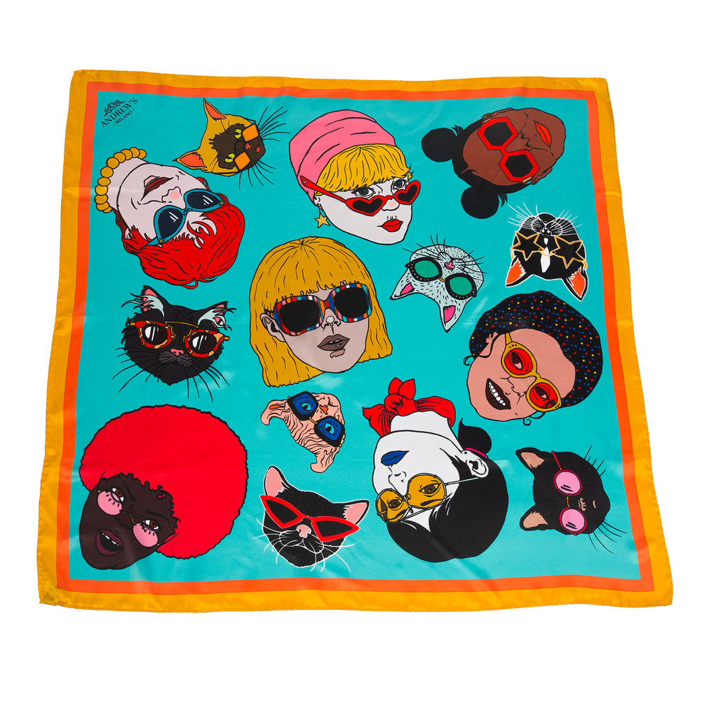 Cat Glasses Silk Scarf