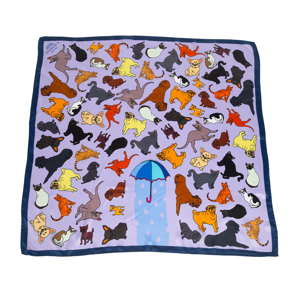 Cats and Dogs Silk Scarf
