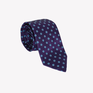 Navy with Light Blue Flowers Tie