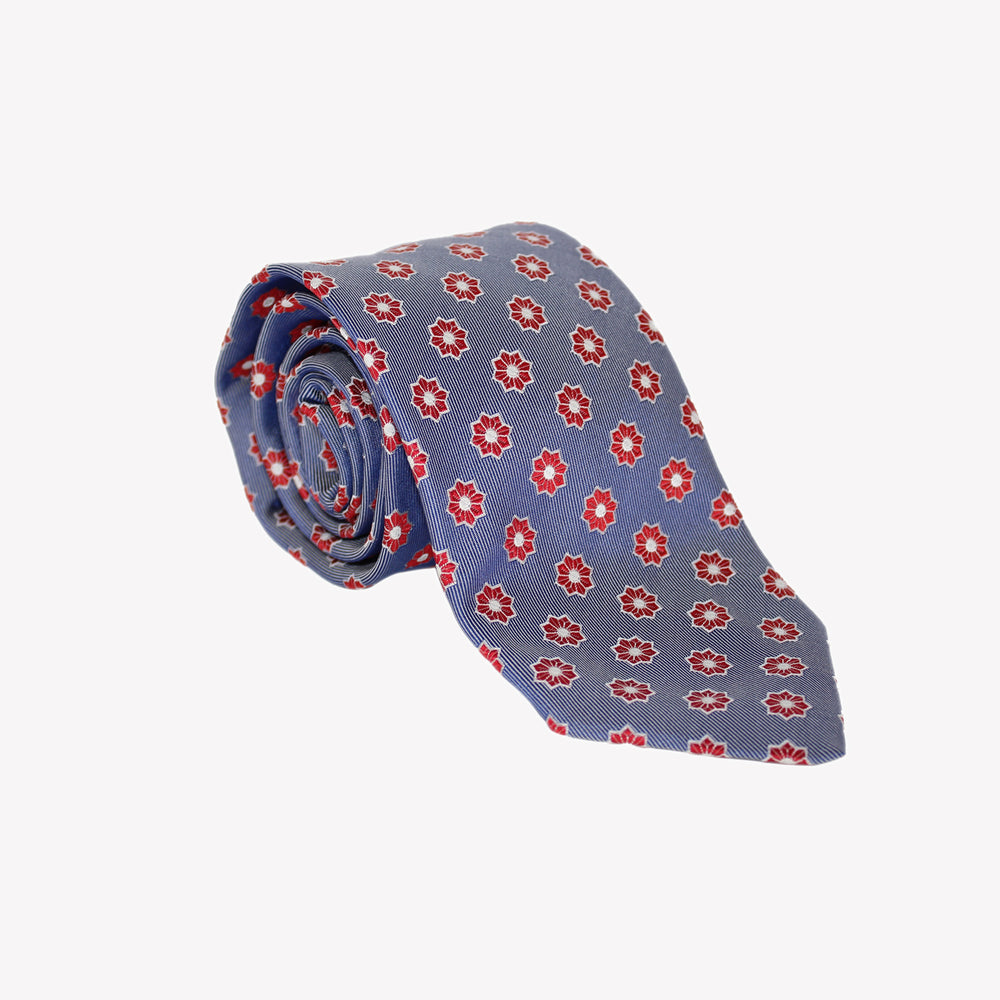 Blue with Red Circle Tie