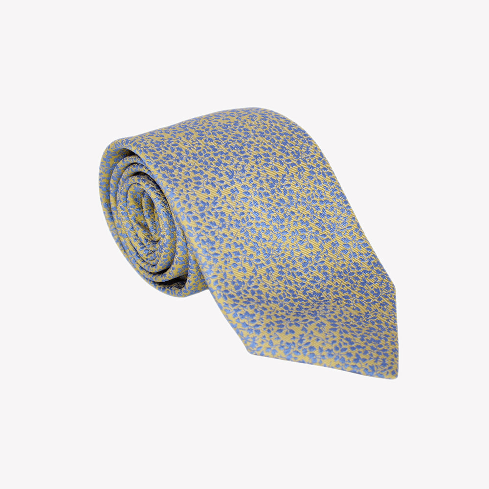 Yellow with Blue Branches Tie