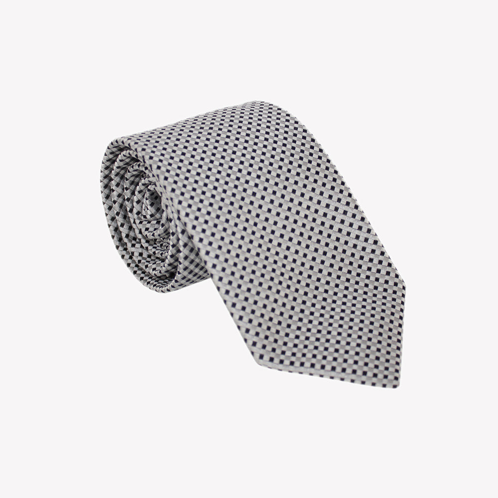 White and Black Pin Square Tie